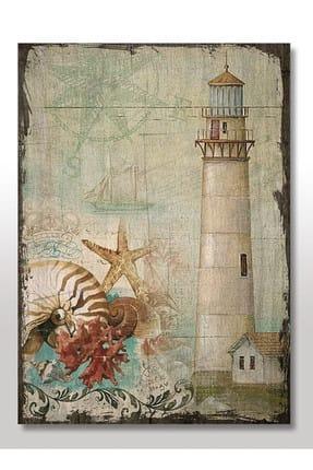 35cmX50cm Ahşap Tablo Fener Deniz Yıldızı Yelkenli Görseli dikey-236-35-50