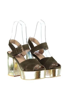 Derimod Hakiki Deri Haki Kadın Topuklu Ayakkabı 3