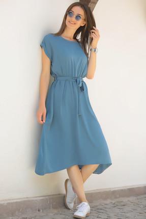 armonika Kadın İndigo Beli Lastikli Bağlamalı Elbise ARM-18Y001120 1