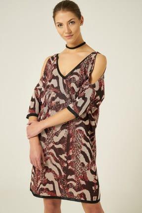 Join Us Kadın Kahve Yılan Desenli V Yaka Omuzları Açık Elbise JU8-9W-DK1511 3