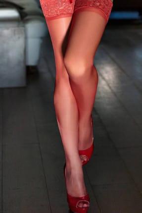 Mite Love Kırmızı Düz Silikonlu Dantelli Jartiyer Çorap 0
