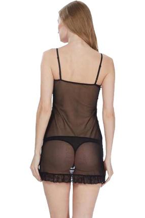 ÖZKAN underwear Kadın Siyah Gecelik 22644 1