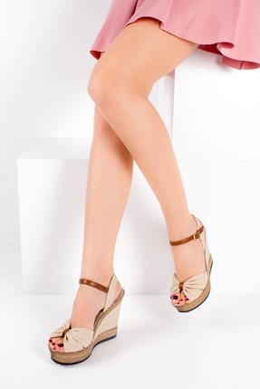 Fox Shoes Bej Kadın Dolgu Topuklu Ayakkabı 9674071005 0