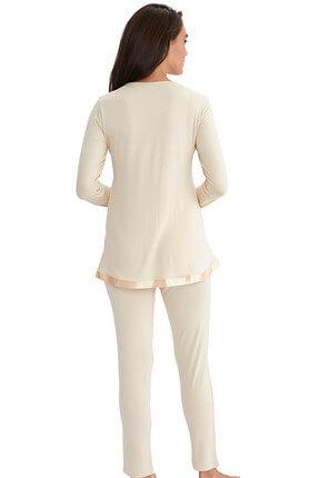 AYYILDIZ Kadın Bej Saten Biyeli Pijama Takımı 4961 / 59468 2