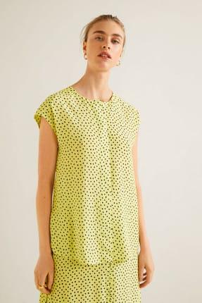 Mango Kadın Çim Rengi Puantiyeli Bluz 41015830 1