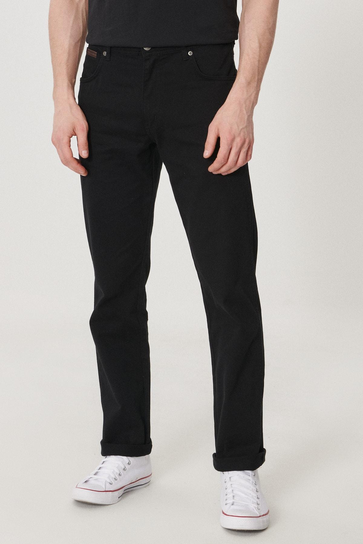 Erkek Siyah Arizona Straight Fit Normal Bel 5 Cep Esnek Pantolon
