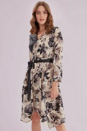 Journey Kadın Siyah Kruvaze Yaka Deri Garnili Etek Altı Asimetrik Elbise 1