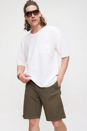 CHUBA Erkek Ekru Bisiklet Yaka Oversize Cep ve Daralan Kesim Detaylı,Pamuklu Triko T-shirt 0