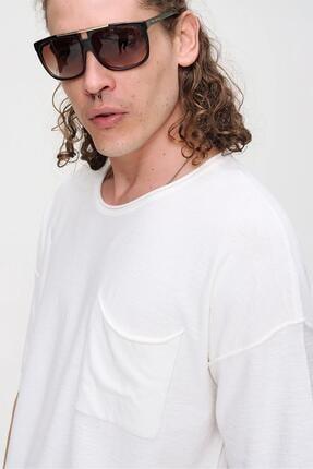 CHUBA Erkek Ekru Bisiklet Yaka Oversize Cep ve Daralan Kesim Detaylı,Pamuklu Triko T-shirt 4