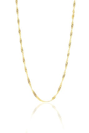 Söğütlü Silver Kadın Gümüş Altın Renkli Singapur Modeli 45 cm Zincir SGTL8933 0