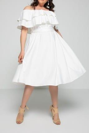 Kadın Ekru Karmen Elbise fw01794eb resmi