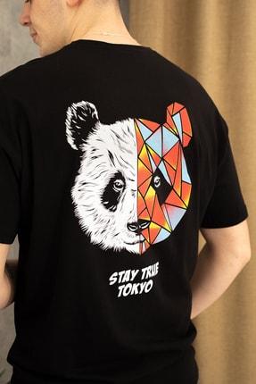 wamoss Siyah Oversize Panda Baskı T-shirt 2