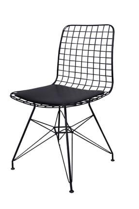 Evdemo Dekor Siyah Tel Metal Sandalye 0