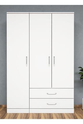 Bimossa K3245 Gardrop 3 Kapılı 2 Çekmeceli Askılı Elbise Dolabı Beyaz 0