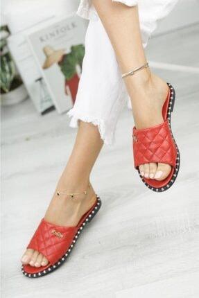 Moda Frato Kadın Kırmızı Terlik 1