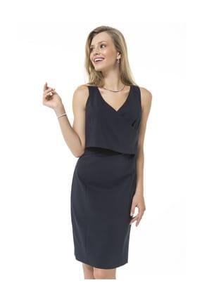 Accouchee Lacivert Kolay Emzirme Özellikli Şık Elbise 0