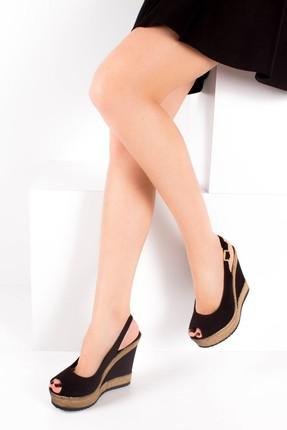 Fox Shoes Siyah Kadın Dolgu Topuklu Ayakkabı 9674070805 0