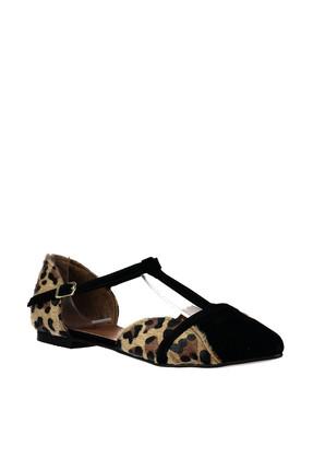 Fox Shoes Leopar Siyah Kadın Ayakkabı B726881802 2