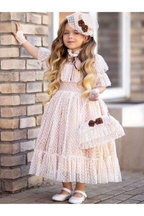 Riccotarz Kız Çocuk Noble Beaute Şapkalı Krem Elbise 0