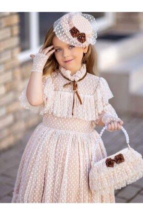 Riccotarz Kız Çocuk Noble Beaute Şapkalı Krem Elbise 2