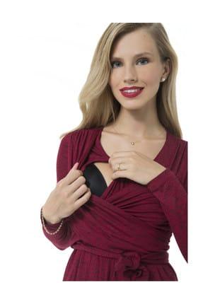 Accouchee Kırmızı-Siyah Emzirme Özellikli Hamile Elbisesi 1