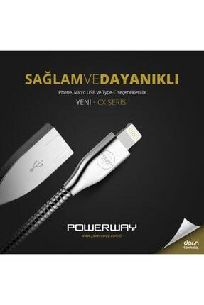 Powerway Cx02 Metal Iphone Lightning Girişli 2.1a Şarj Ve Data Kablosu 1