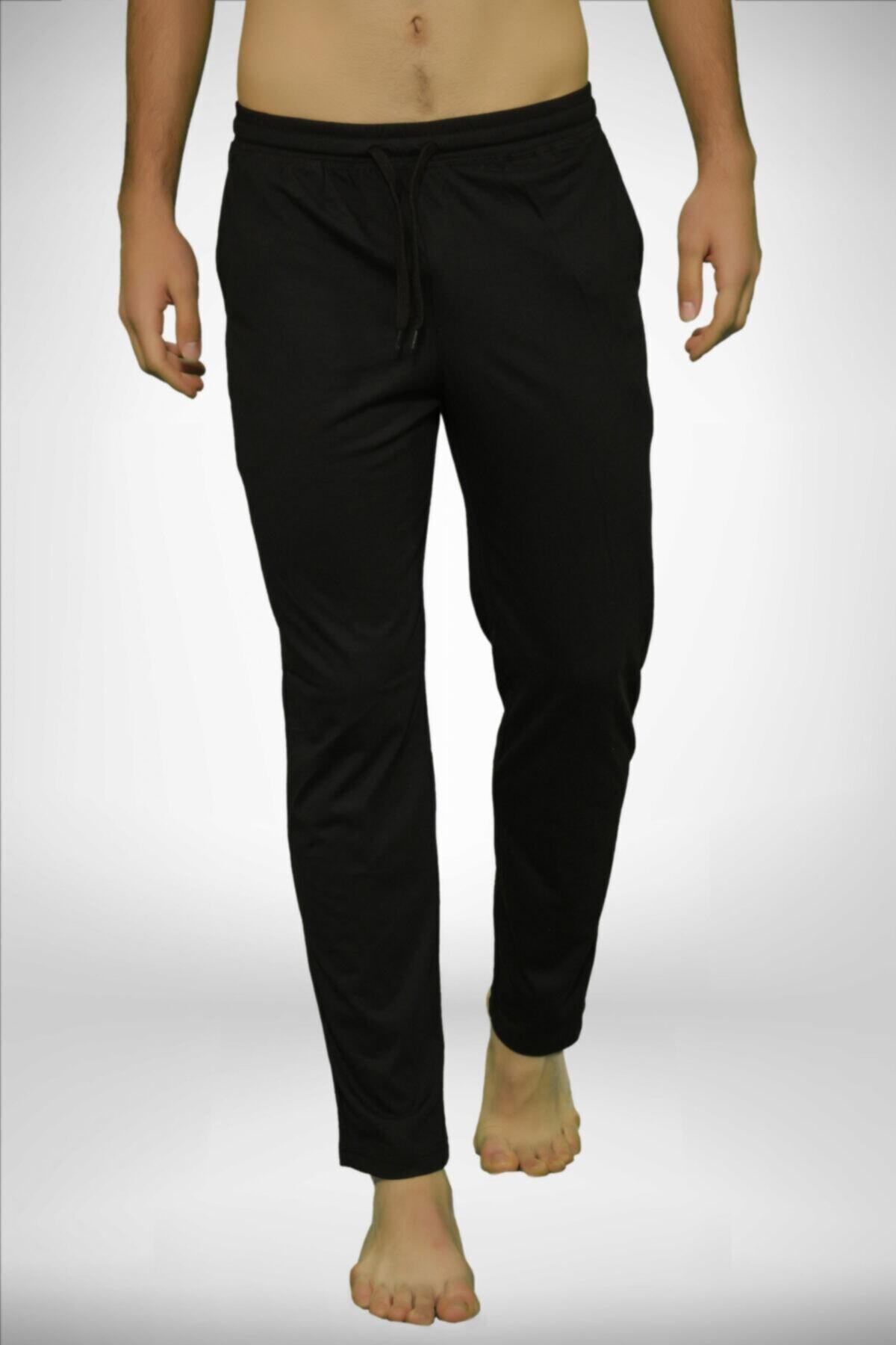 Erkek Siyah Bel Lastikli Cepli Tek Alt Düz Paça Pijama 6003