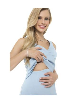 Accouchee Bebe Mavisi Kolay Emzirme Özellikli Şık Elbise 1