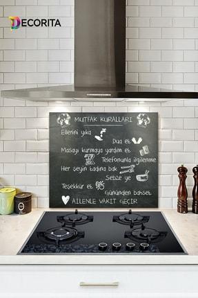 Decorita Mutfak Kuralları - Kara Tahta Görünümlü   Cam Ocak Arkası Koruyucu   52cm X 60cm 0