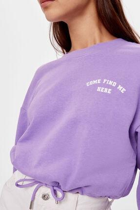 Bershka Kadın Mor Baskılı Bağcıklı Sweatshirt 2