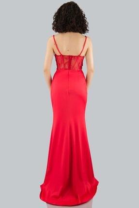 Hot Contact Hc 7967 Kadın Kırmızı Elbise 2