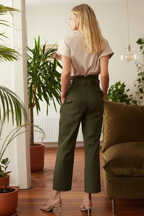 TRENDYOLMİLLA Haki Kemerli Pantolon TWOSS20PL0016 3