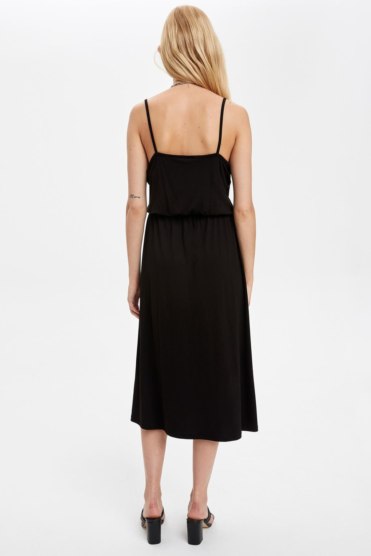 Defacto Kadın Siyah Kruvaze Yaka İnce Askılı Elbise S5170AZ20HS 3
