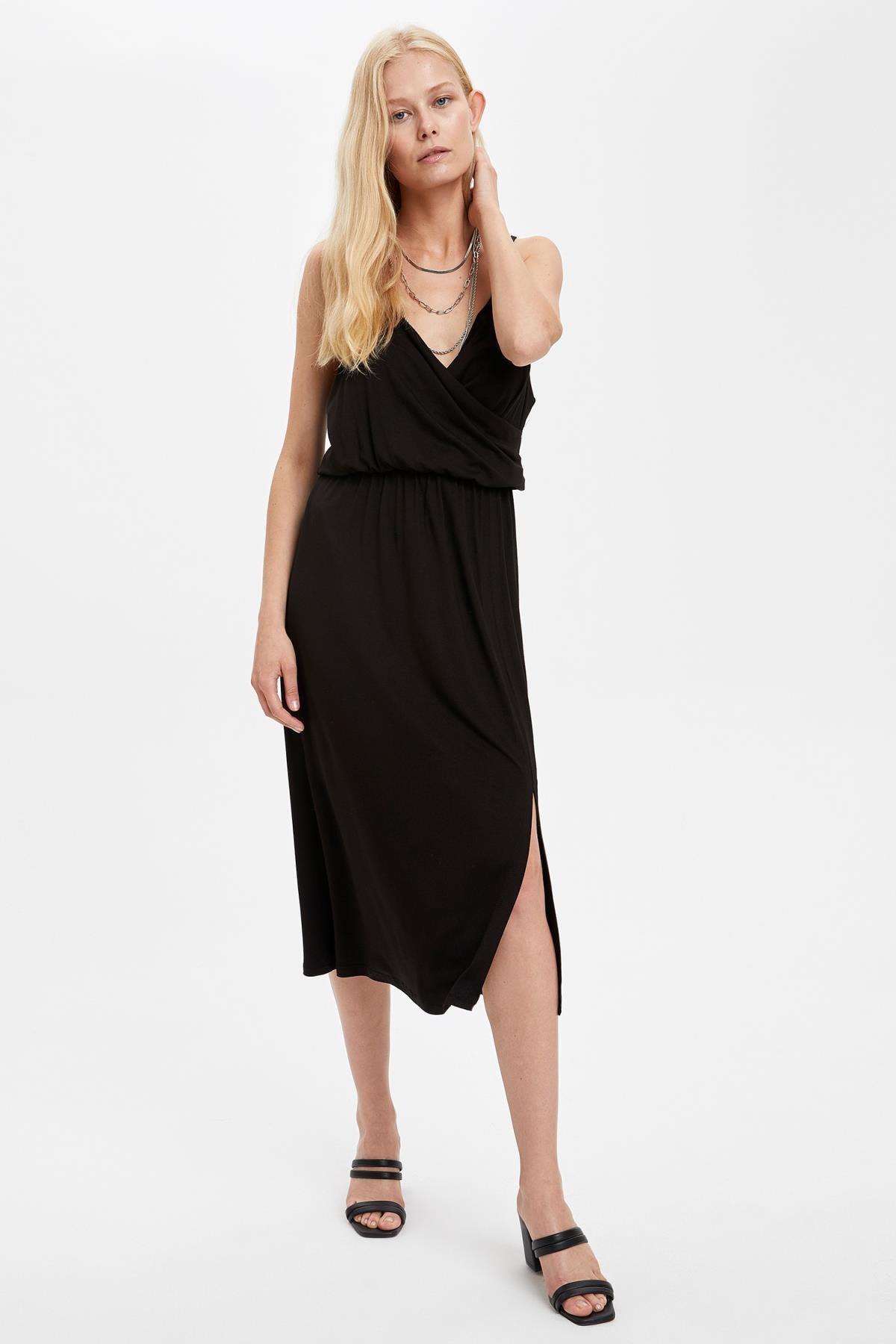 Defacto Kadın Siyah Kruvaze Yaka İnce Askılı Elbise S5170AZ20HS 4