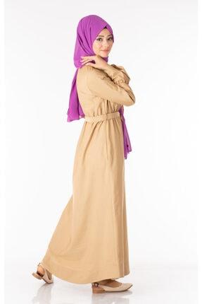 Tp Tesettür Pazarı Kadın Krem  Tesettür Elbise Kuşaklı Nkt61969-3 3