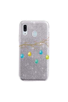 Cekuonline Samsung Galaxy A20 Kılıf Simli Shining Desenli Silikon Gümüş Gri - Stok601 - Kır Düğünü 0