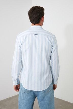 TRENDYOL MAN Mavi Erkek Çizgili Oxford  Slim Fit Gömlek TMNSS20GO0122 4