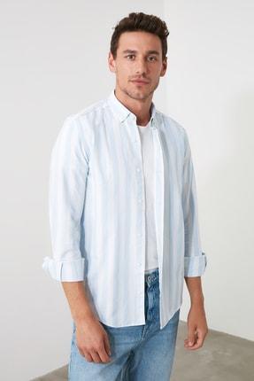 TRENDYOL MAN Mavi Erkek Çizgili Oxford  Slim Fit Gömlek TMNSS20GO0122 2