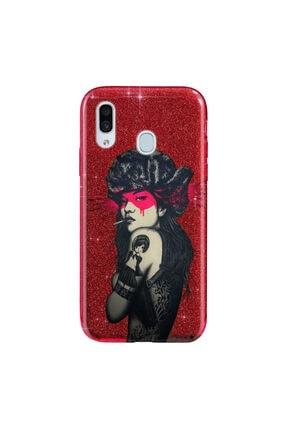 Cekuonline Samsung Galaxy A20 Kılıf Simli Shining Desenli Silikon Kırmızı - Stok153 - Tattoo Woman 0