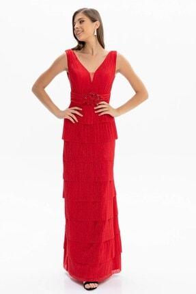 Abiye Sarayı Kadın Kırmızı Bel ve Göğüs Detaylı Kat Kat Uzun Abiye 2