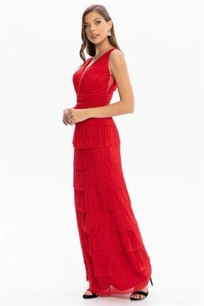 Abiye Sarayı Kadın Kırmızı Bel ve Göğüs Detaylı Kat Kat Uzun Abiye 4