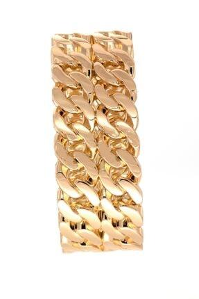 takızamanı Kadın Altın Renk Zincir Desenli Gold Renk Kelepçe Bileklik 0