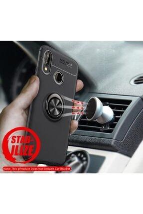 Kilifplus Huawei P20 Lite Kılıf Auto Focus Serisi Standlı Yüzüklü Kapak - Kırmızı - Siyah 3