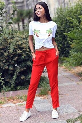 Womenice Kadın Kırmızı Beli Bağcıklı Cepli Pantolon 1