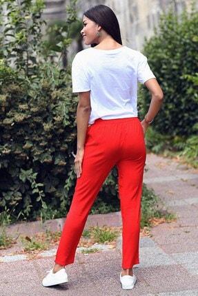 Womenice Kadın Kırmızı Beli Bağcıklı Cepli Pantolon 2