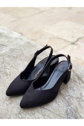 Yeni Elbisem Kadın Siyah Süet Topuklu Ayakkabı 4