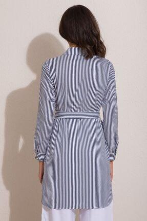 Kadın Modası Kadın Indigo Düğmeli Kuşaklı Çizgili Tunik 4