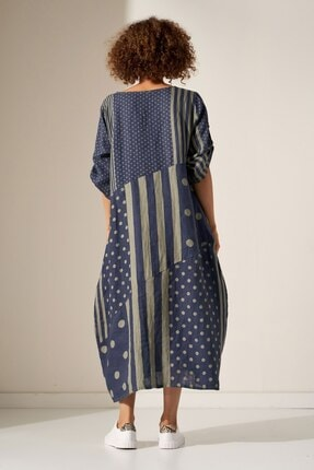 Camena Puantiye Çizgili Keten Elbise 2019070500189 2