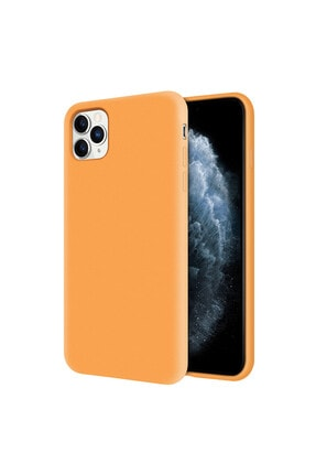 Kzy Mobilya Apple Iphone 11 Pro Içi Kadife Soft Logosuz Lansman Silikon Kılıf - Turuncu 0