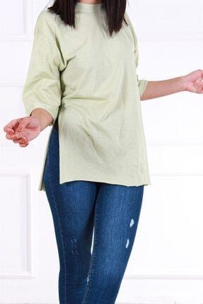 Melanj Kadın Yeşil  Duble Kol T shirt 3